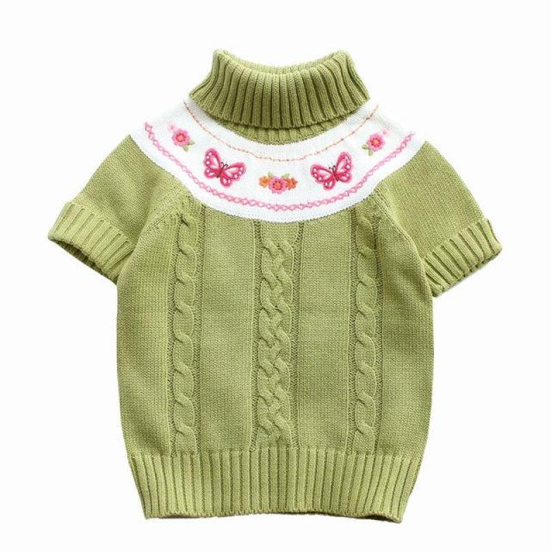 Turtle Neck Short Sleeve Sweater - sweater - Green / 3 - Strawbie Collections