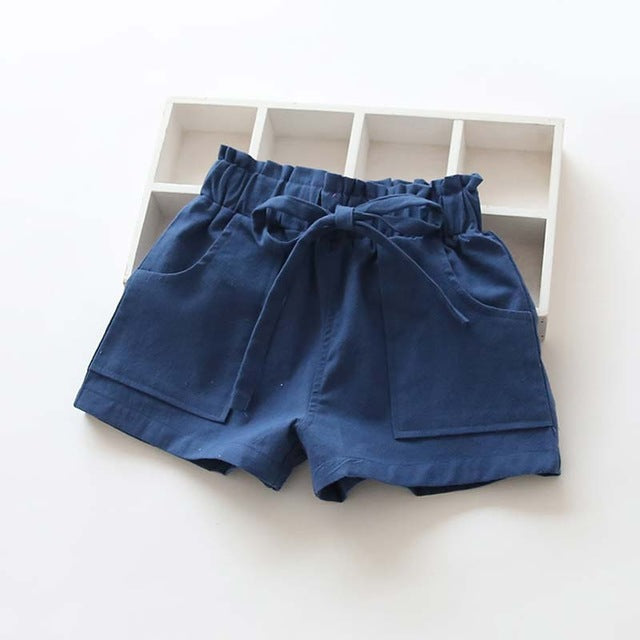 Candy Colored kids Shorts With Front Pockets navy blue / 7 in Strawbie Collections - girls shorts