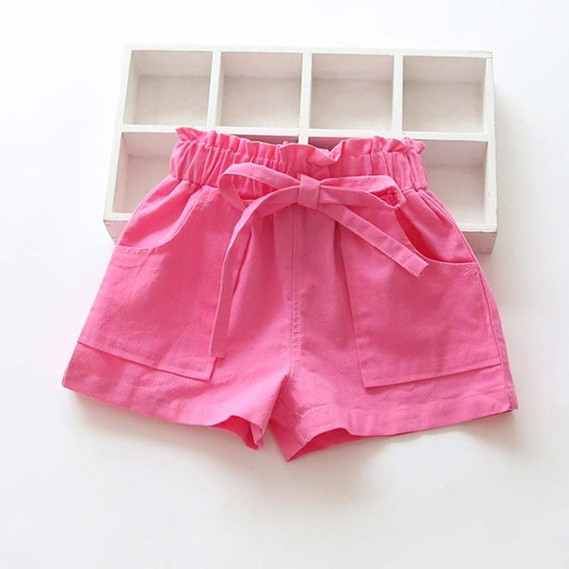 Candy Colored kids Shorts With Front Pockets rose / 7 in Strawbie Collections - girls shorts