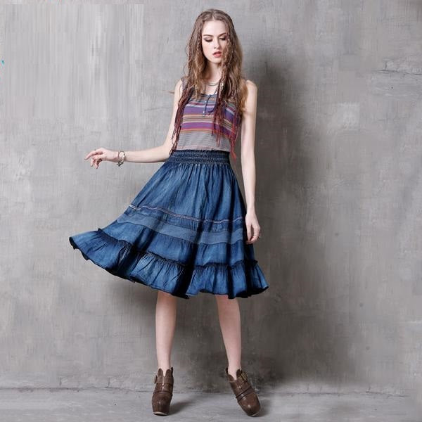 Vintage Denim Skirt With Swing Hem Denim / L in Strawbie Collections - girl skirts