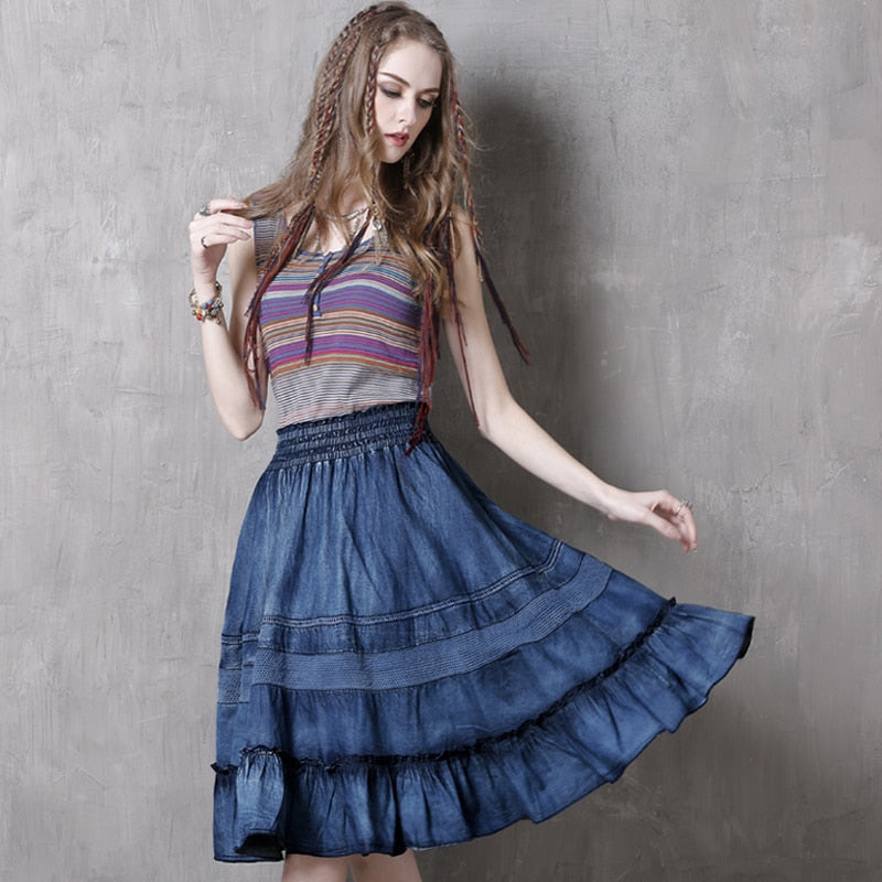 Vintage Denim Skirt With Swing Hem  in Strawbie Collections - girl skirts