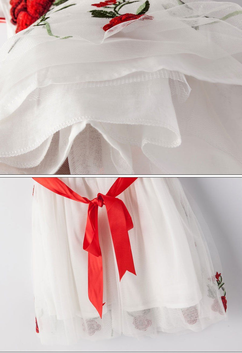 White Mesh Princess Dress With Rose Flower Embroidery  in Strawbie Collections - girls dress