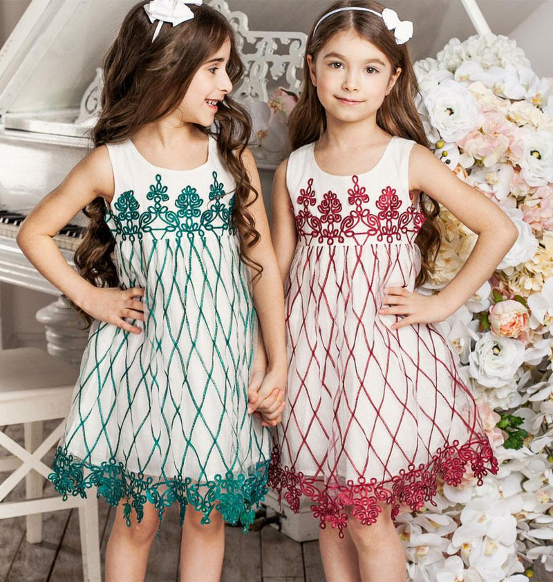 Embroidered Sleeveless Mesh Party Dress  in Strawbie Collections - girls dress