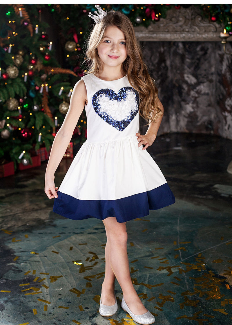 White And Blue Ball Gown Sleeveless Dress With Flower Applique  in Strawbie Collections - girls dress