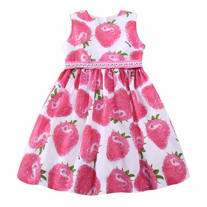 Cute Strawberry Beaded Dress multi / 9 in Strawbie Collections - girls dress