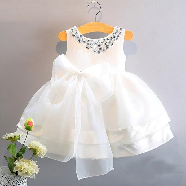 Lovely Formal Sleeveless Dress With Beautiful Bow Knot White / 7 in Strawbie Collections - girls dress