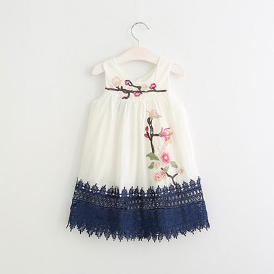 Floral Embroidered Casual Sleeveless dress - girls dress - White / 2 - Strawbie Collections