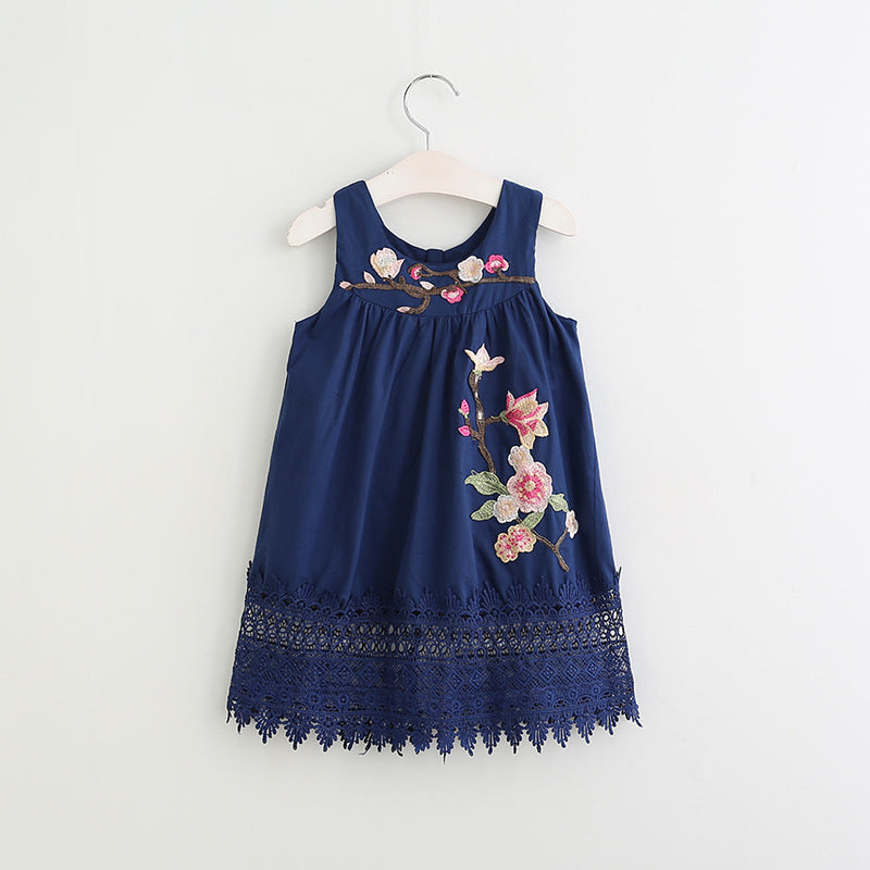 Floral Embroidered Casual Sleeveless dress Blue / 6 in Strawbie Collections - girls dress