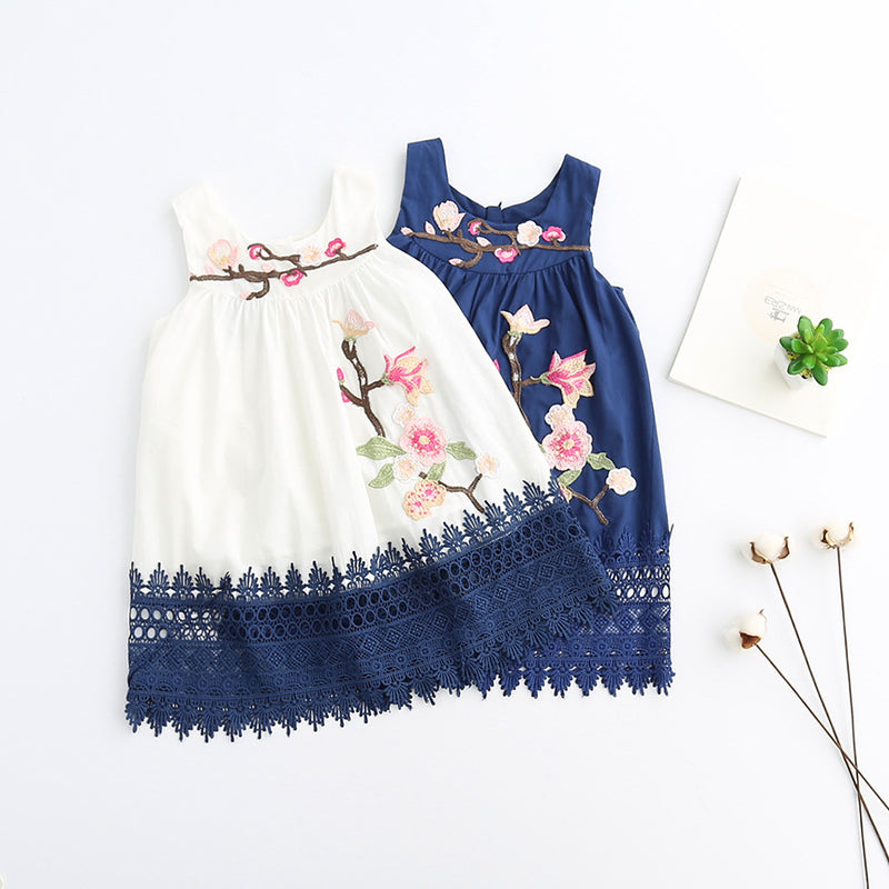 Floral Embroidered Casual Sleeveless dress  in Strawbie Collections - girls dress