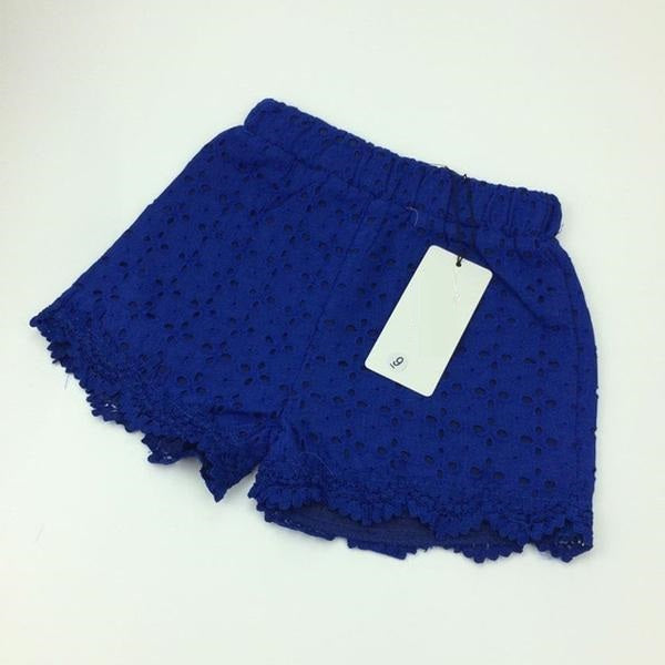 Princess Lace Shorts for Summer Spring navy blue / 7 in Strawbie Collections - girls shorts