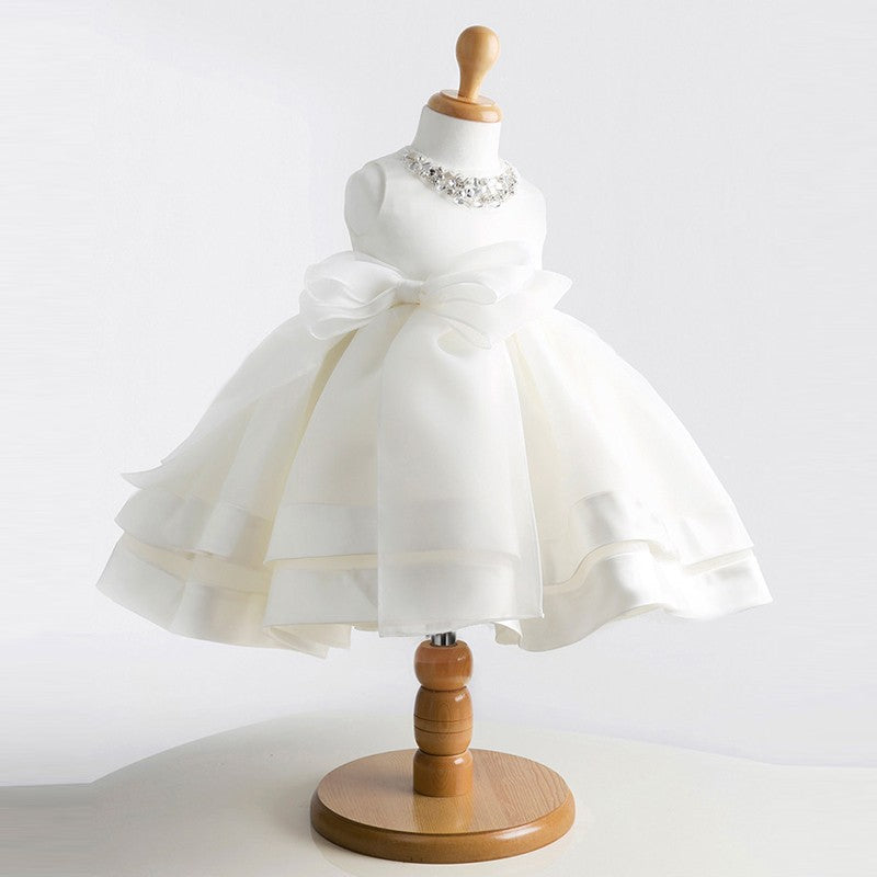 Lovely Formal Sleeveless Dress With Beautiful Bow Knot  in Strawbie Collections - girls dress