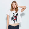 Loose Soft Crop Top With Bulldog Print  in Strawbie Collections - Girls Tops