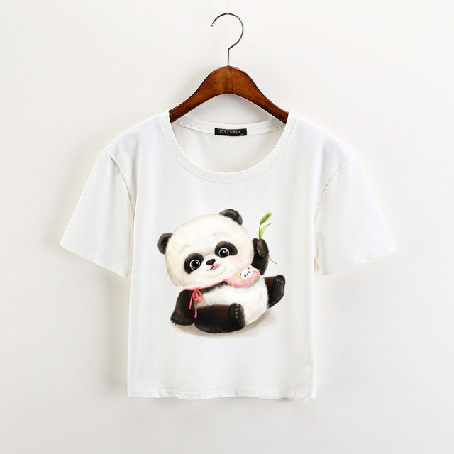 Loose Soft Crop Top With Bulldog Print 02 / XXL in Strawbie Collections - Girls Tops