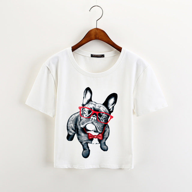 Loose Soft Crop Top With Bulldog Print 01 / XXL in Strawbie Collections - Girls Tops