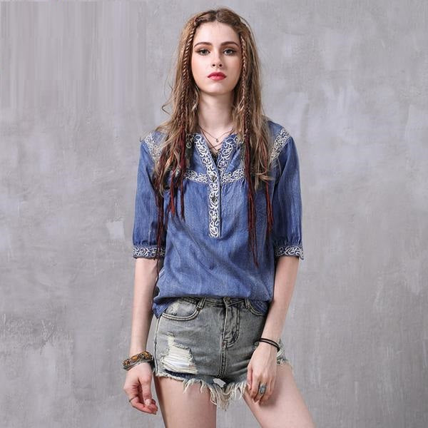 Loose Denim Blouse With Floral Embroidery Denim / M in Strawbie Collections - Girls Tops