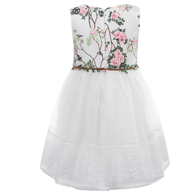 White Party Mesh Dress With Sequins Border And Belt  in Strawbie Collections - girls dress