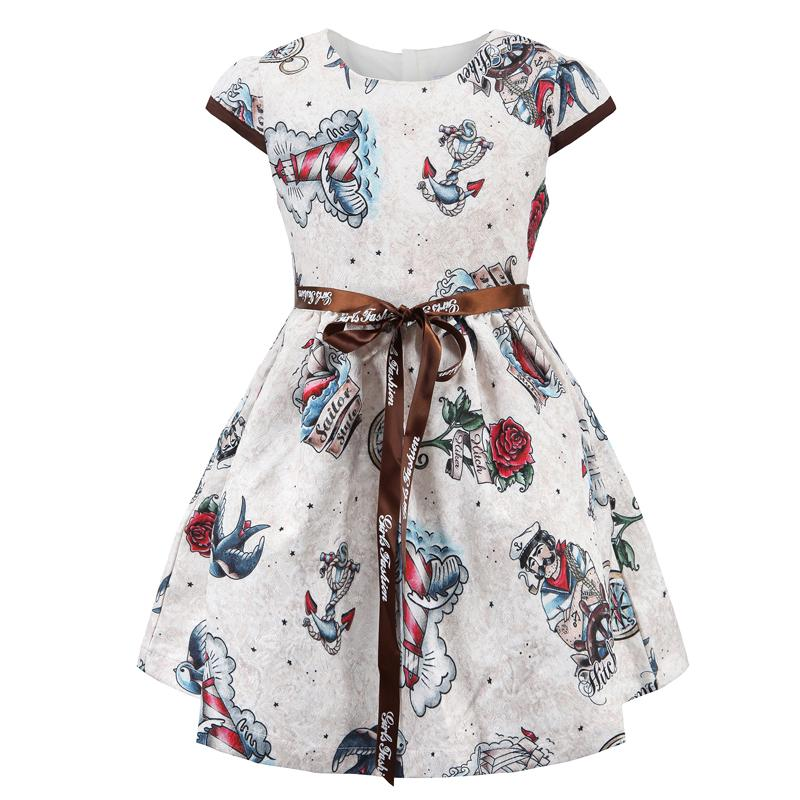 Floral Printed Casual Dress With Ribbon Belt White / 6 in Strawbie Collections - girls dress