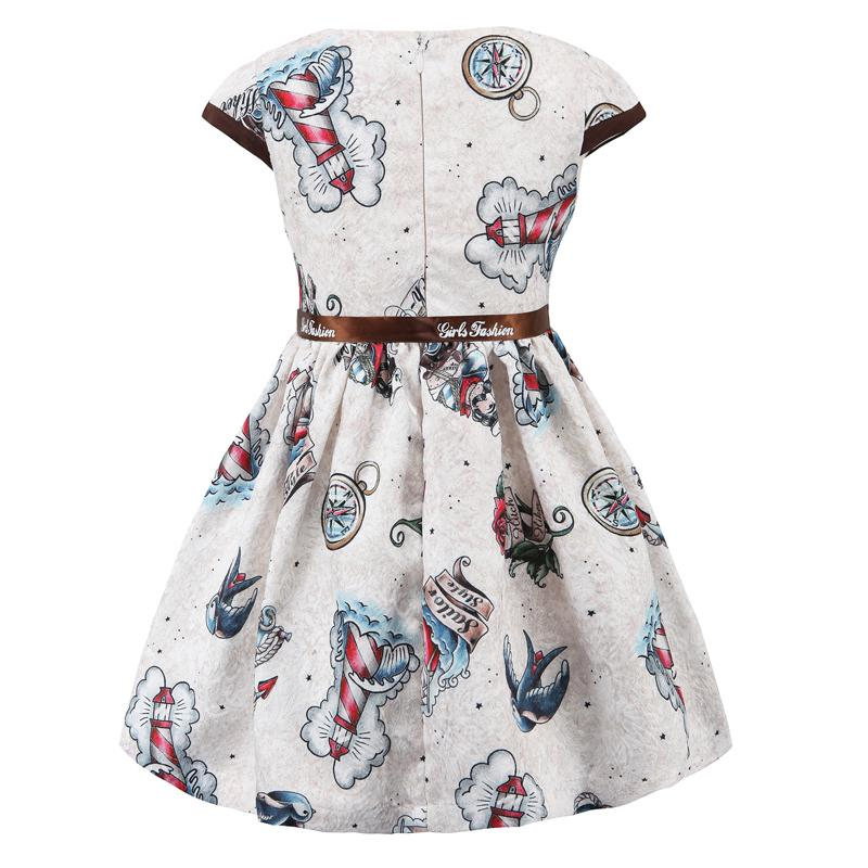 Floral Printed Casual Dress With Ribbon Belt  in Strawbie Collections - girls dress