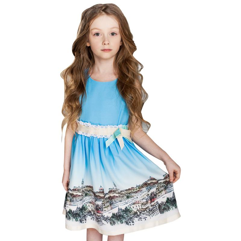 Printed Casual Sleeveless Dress In Blue  in Strawbie Collections - girls dress