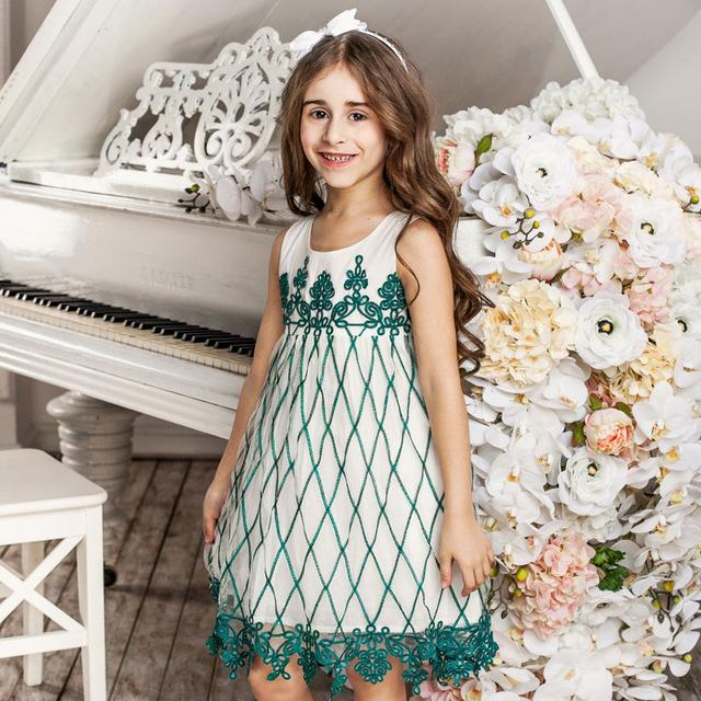 Embroidered Sleeveless Mesh Party Dress Green / 8 in Strawbie Collections - girls dress