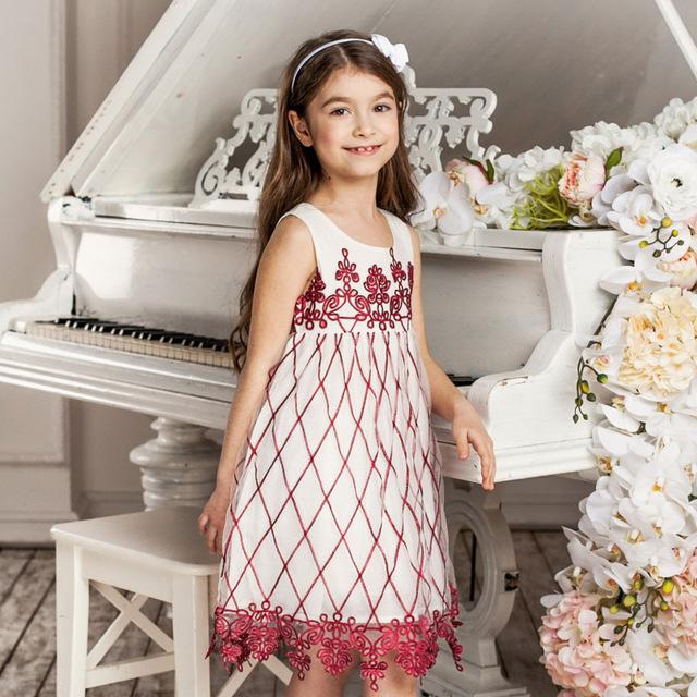 Embroidered Sleeveless Mesh Party Dress - girls dress - Red / 10 - Strawbie Collections