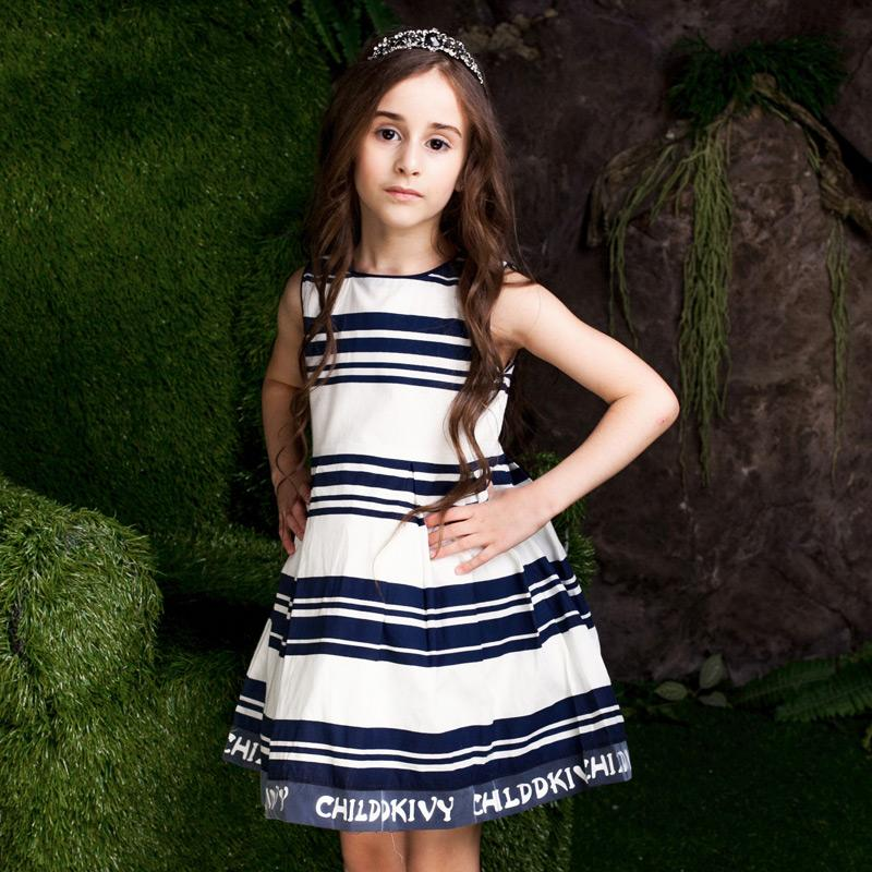 Black And White Striped Casual Dress - girls dress - - Strawbie Collections