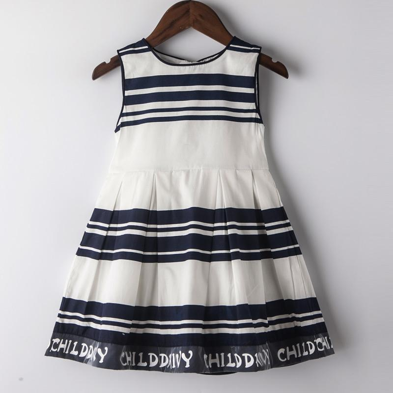 Black And White Striped Casual Dress Striped / 8 in Strawbie Collections - girls dress