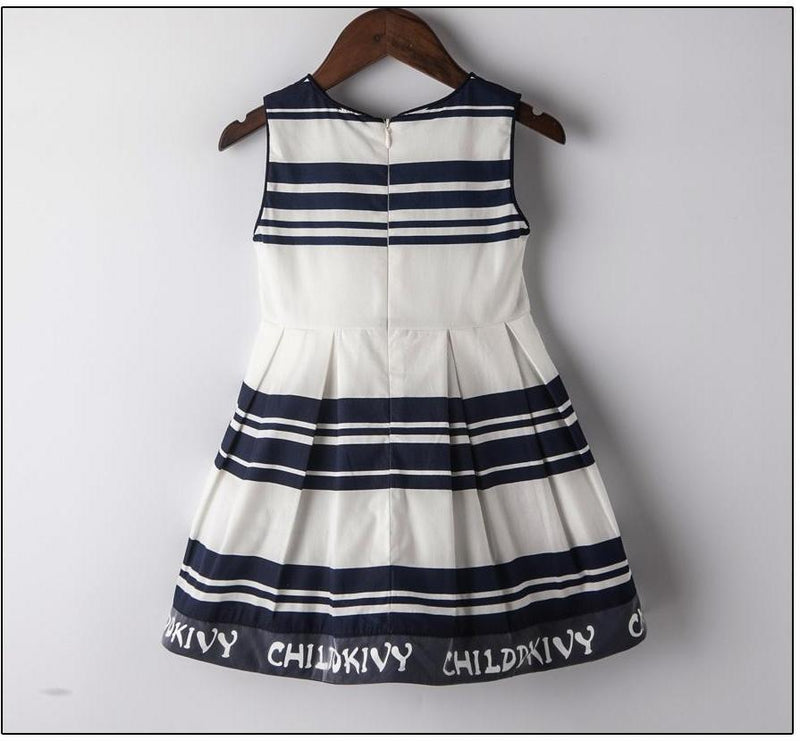 Black And White Striped Casual Dress  in Strawbie Collections - girls dress