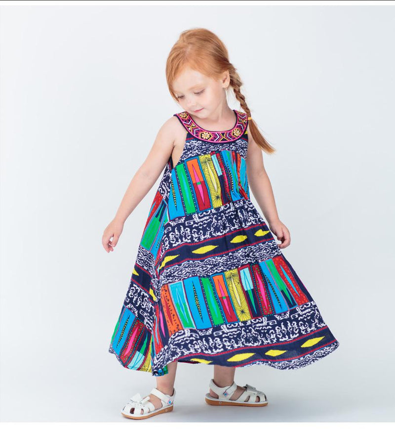 Bohemian Fashion Party Dress For Girls  in Strawbie Collections - girls dress