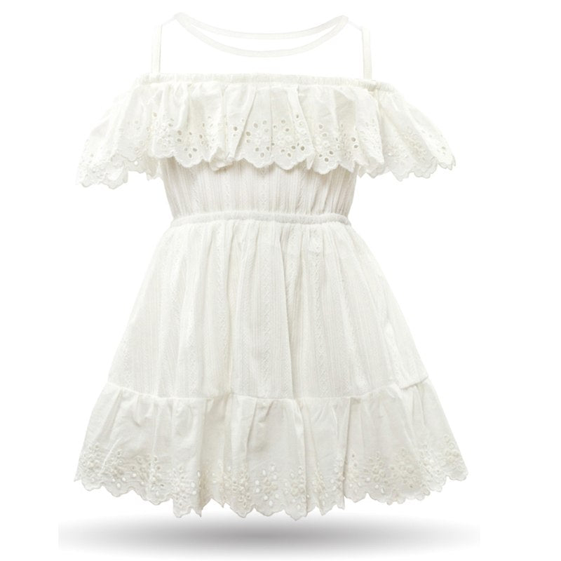 Casual Mesh Collar Cotton Dress  in Strawbie Collections - girls dress