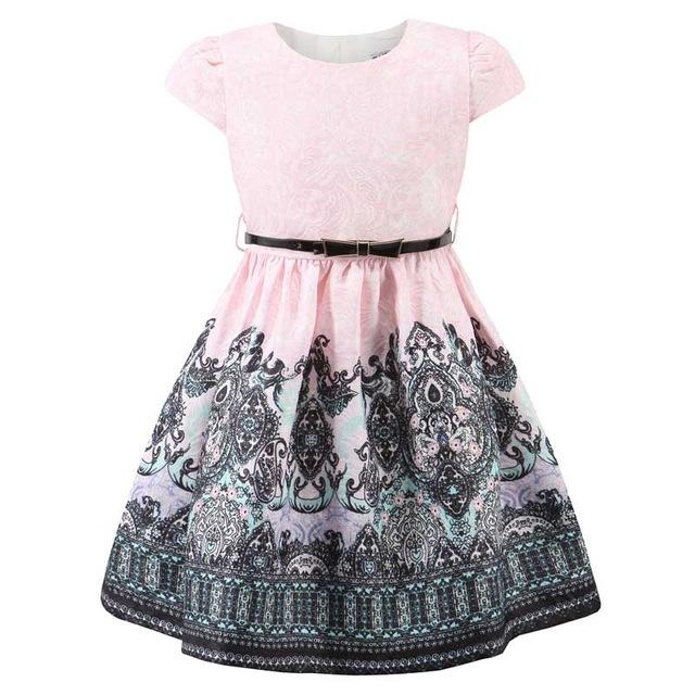 Printed Casual Pink Dress With Belt pink / 12 in Strawbie Collections - girls dress