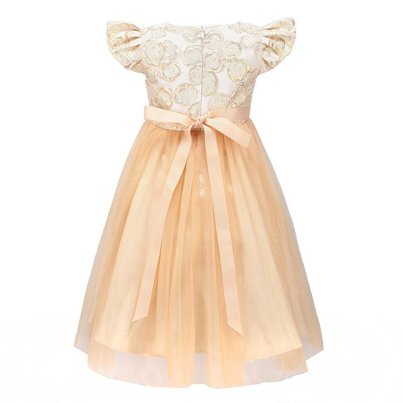 Shiny Golden Petal Sleeve Floral Mesh Party Dress - girls dress - - Strawbie Collections