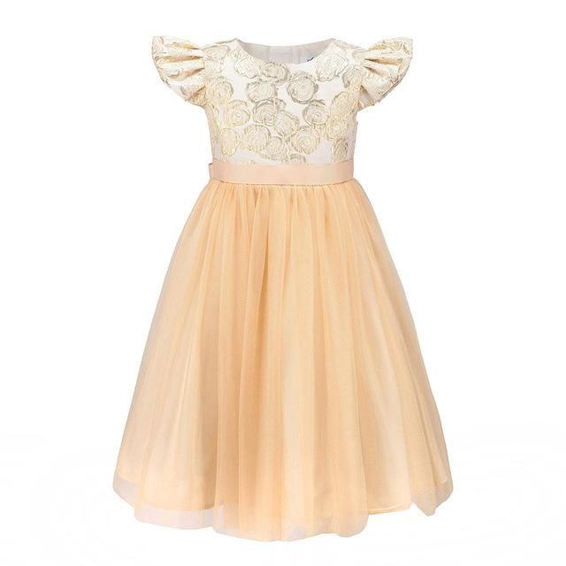 Shiny Golden Petal Sleeve Floral Mesh Party Dress - girls dress - Gold / 10 - Strawbie Collections