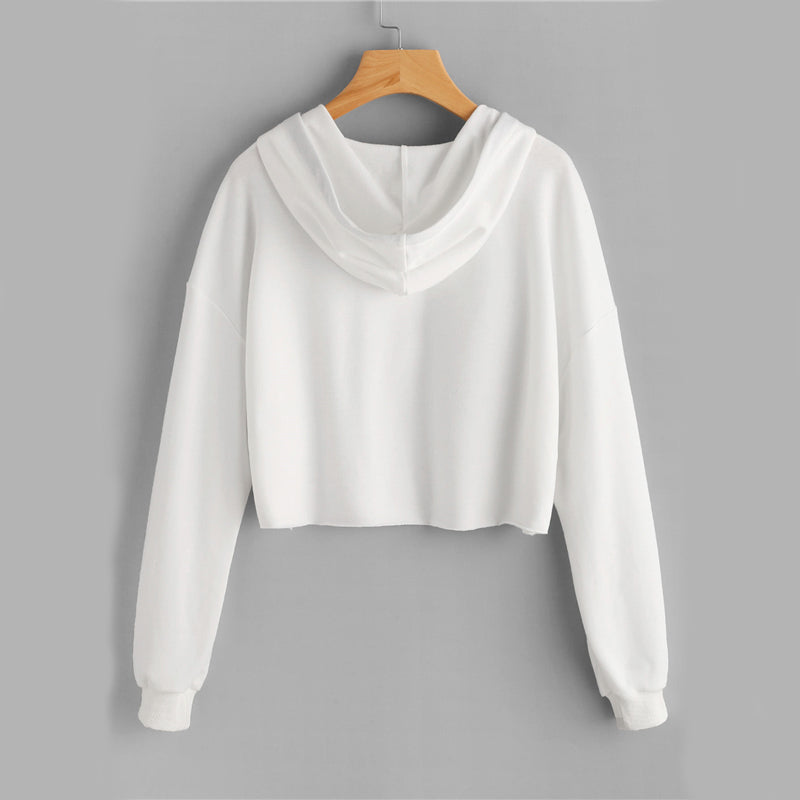 Casual White Raw Hem Crop Hoodie For Teens  in Strawbie Collections - SweatShirts