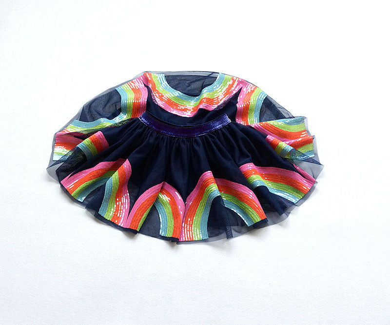 Sequined Rainbow Party Tutu Skirts  in Strawbie Collections - girls skirts