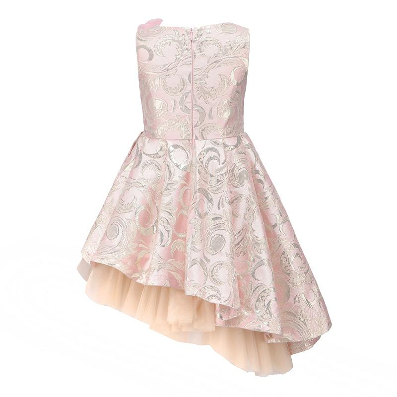 Asymmetrical Sleeveless Ball Gown With Flower Pin - girls dress - - Strawbie Collections