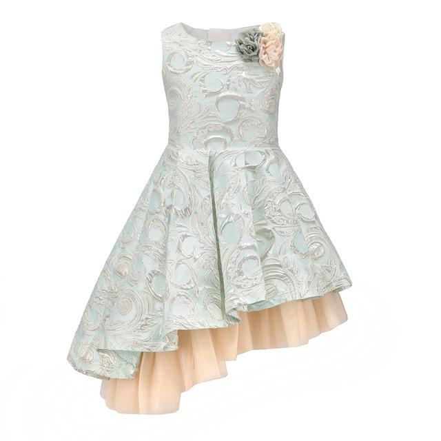 Asymmetrical Sleeveless Ball Gown With Flower Pin Sky Blue / 8 in Strawbie Collections - girls dress
