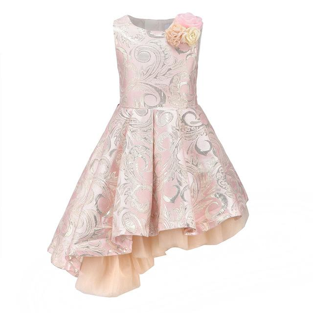 Asymmetrical Sleeveless Ball Gown With Flower Pin - girls dress - Pink / 10 - Strawbie Collections