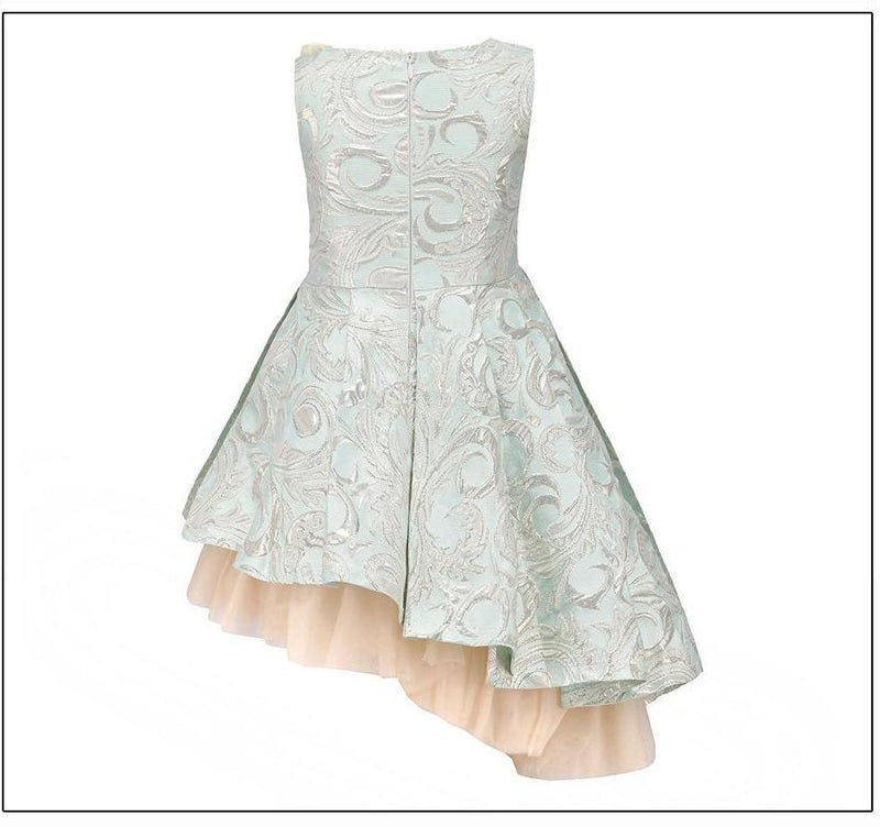 Asymmetrical Sleeveless Ball Gown With Flower Pin  in Strawbie Collections - girls dress
