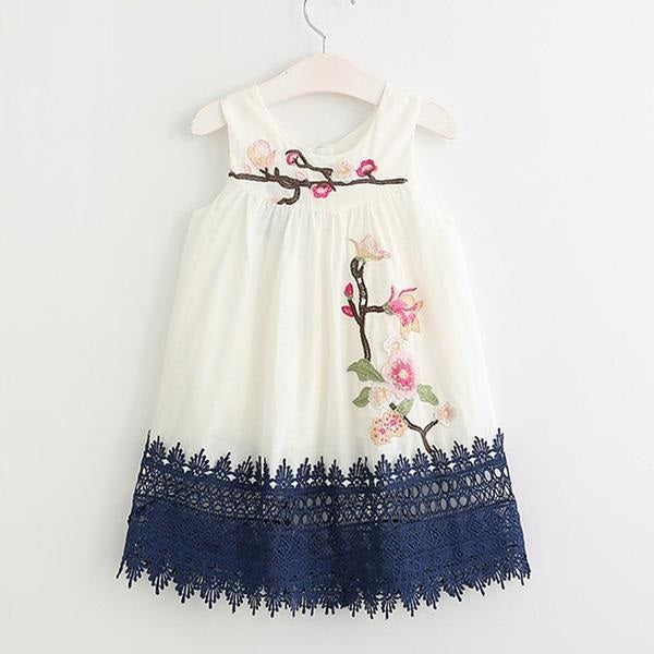 Floral Embroidered Casual Sleeveless dress