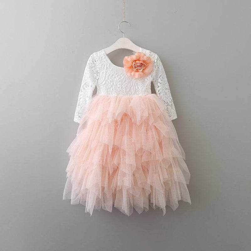 Lace Party Outfit With A Flower Pin pink flower pin / 10 in Strawbie Collections - party dress