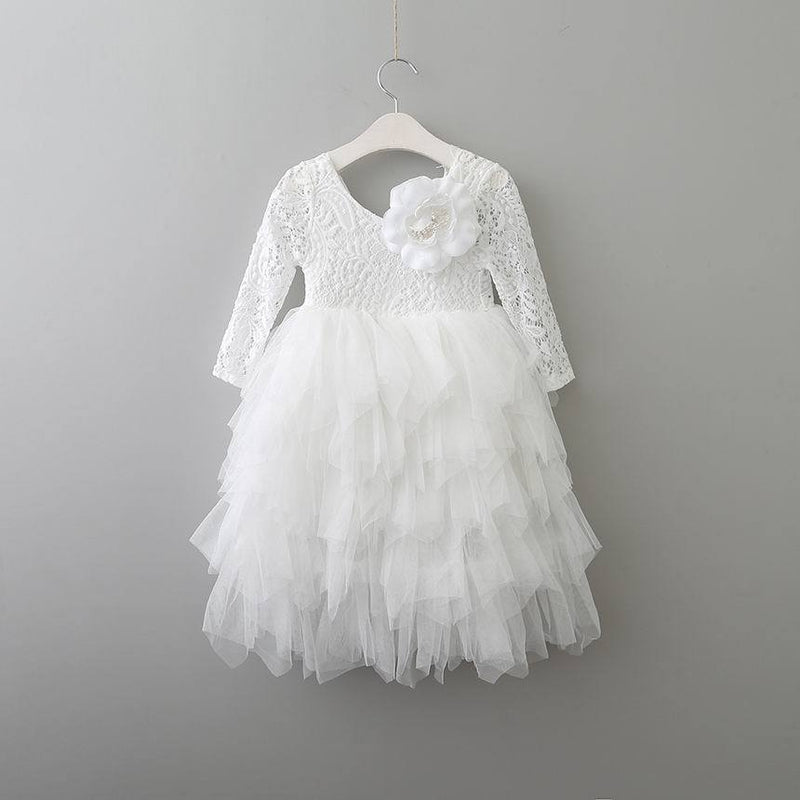 Lace Party Outfit With A Flower Pin white flower pin / 10 in Strawbie Collections - party dress