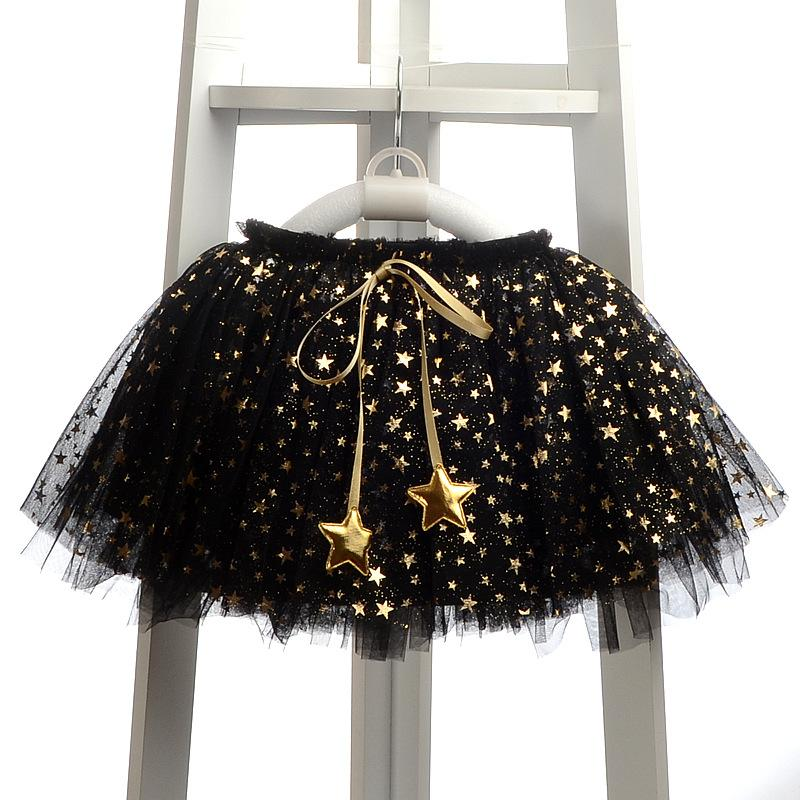 Lovely Tutu With Appliques Stars Bow Black / 12 in Strawbie Collections - girl skirts