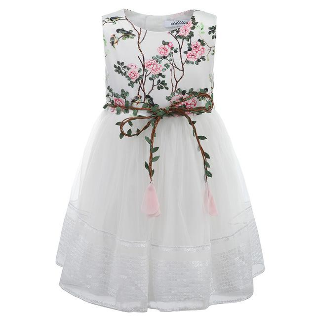 White Party Mesh Dress With Sequins Border And Belt White / 8 in Strawbie Collections - girls dress