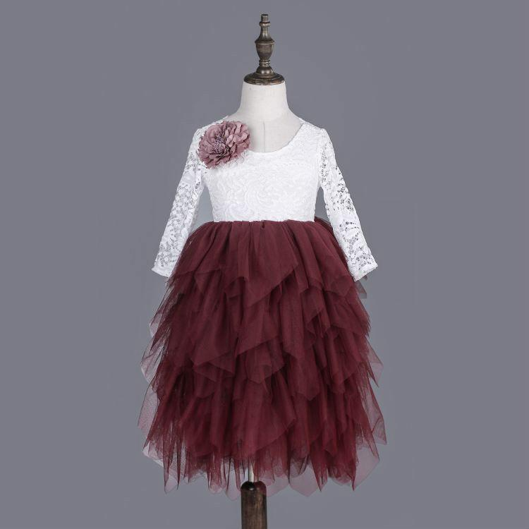 Lace Party Outfit With A Flower Pin maroon / 4 in Strawbie Collections - party dress