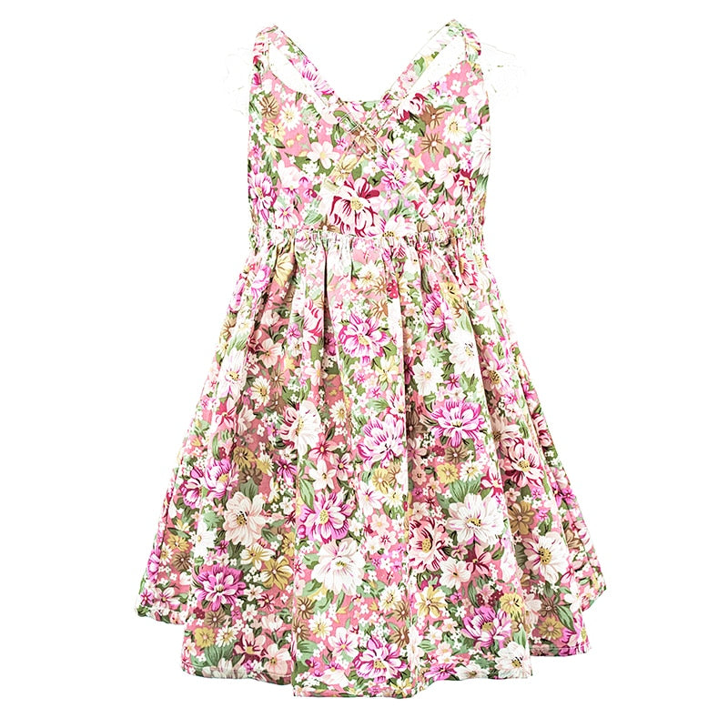 Floral Strap Sleeve Cotton Dress - girls dress - - Strawbie Collections