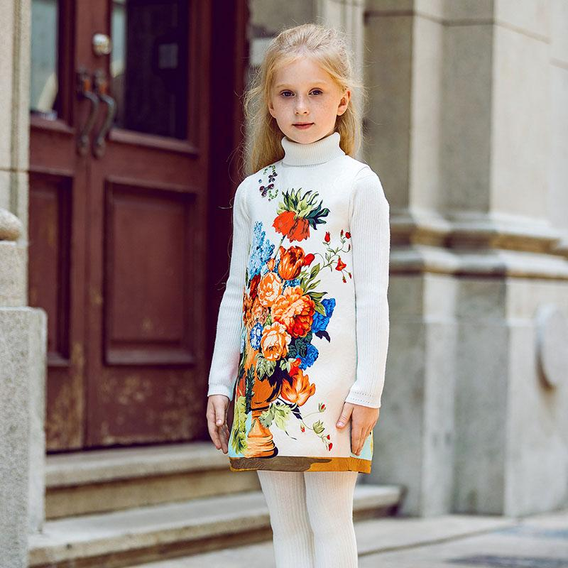 Floral Printed O-Collar Dress White floral / 9 in Strawbie Collections - girls dress