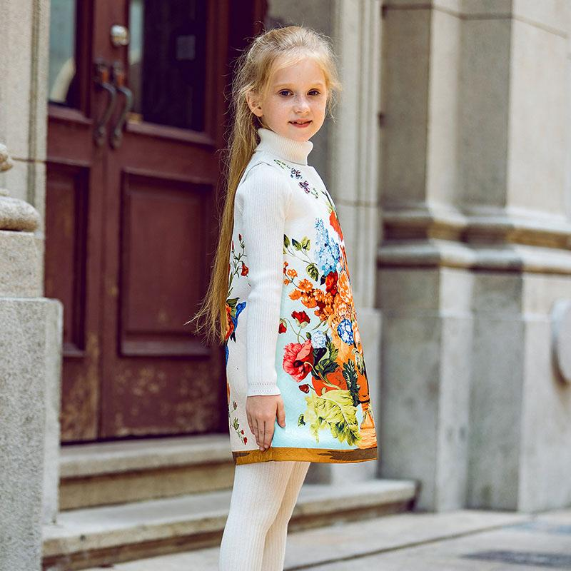 Floral Printed O-Collar Dress  in Strawbie Collections - girls dress