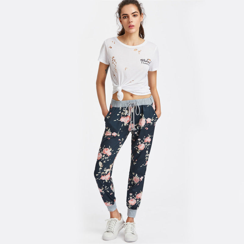 Casual Harem Style Floral Sweatpants For Teens  in Strawbie Collections - Girls Pants