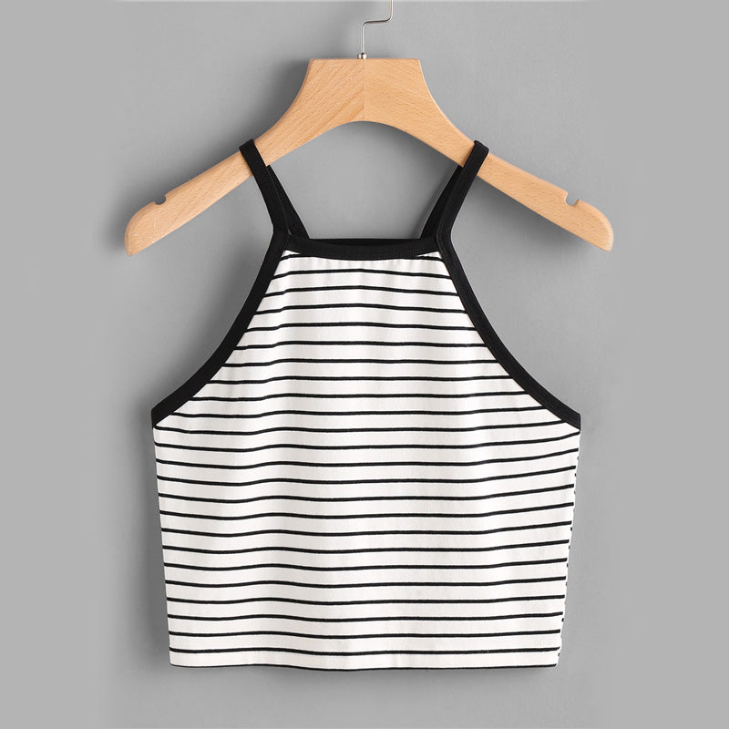 Stretchy Striped Spaghetti Strap Short Vest  in Strawbie Collections - Girls Tops